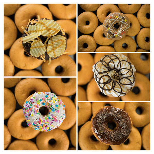 Doughnut collage with various toppings