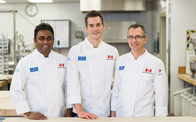 Baking Team Canada: Marcus Mariathus from Toronto, and NAIT instructors James Holehouse (centre) and Alan Dumonceaux.
