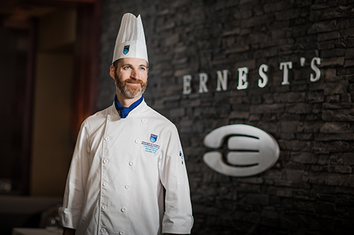 Michael Hassall, executive chef at ernest's, NAIT's fine dining restaurant