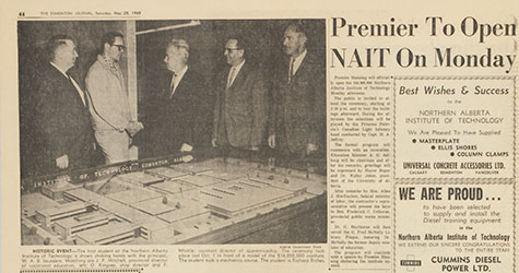 An Edmonton Journal story about the opening of NAIT