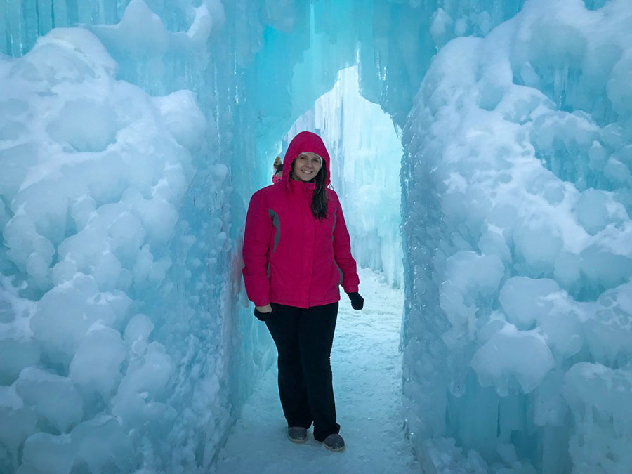 Alessandra Medeiros, nait bachelor of technology grad and international student, at Edmonton's ice castle
