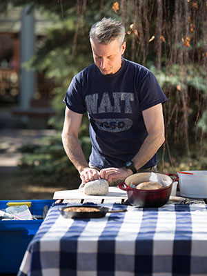 clayton folkers makes bread while camping