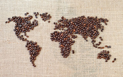 map of world in coffee beans