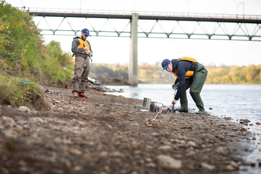 Researchers collect sediment samples from the North Saskatchewan River