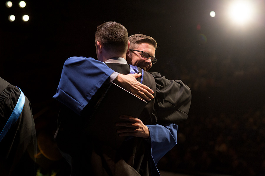 hugging it out at convocation