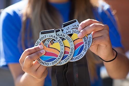 Davina McLeod's medals from the 2017 North American Indigenous Games in Toronto, Ontario, Canada