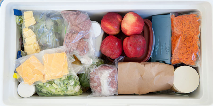 food properly safely packed in a cooler