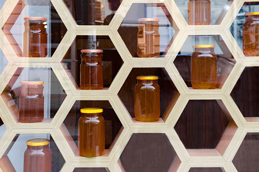 honey for sale in a shop
