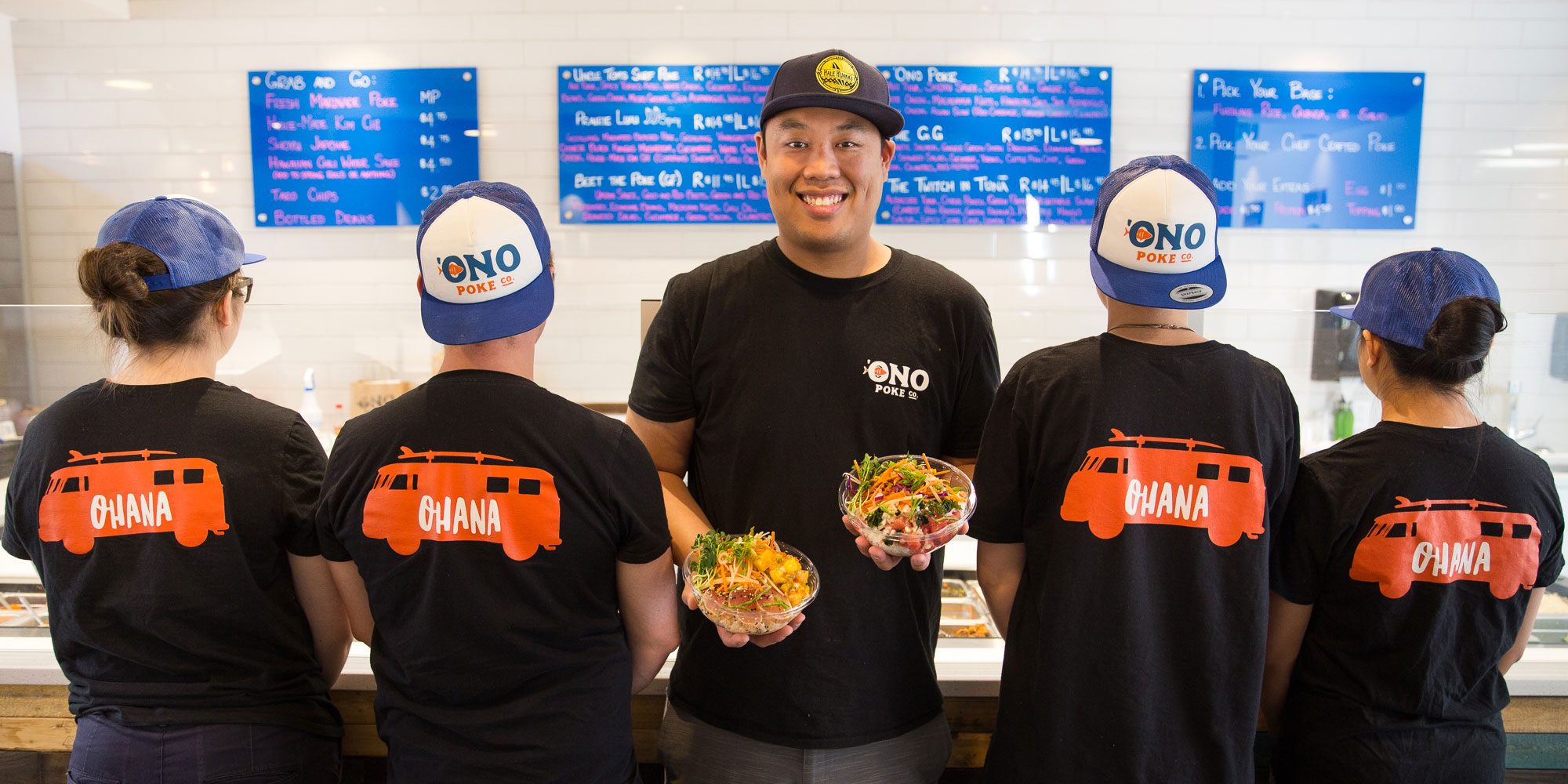 lawrence hui and staff at ono poke in Edmonton