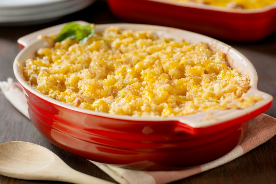 homemade macaroni and cheese with bread crumb topping