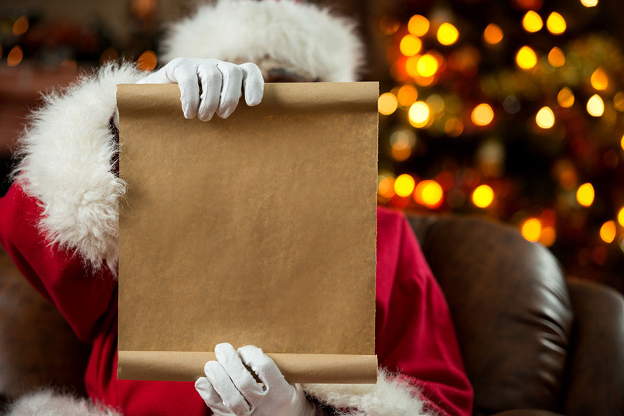 santa looking at his list