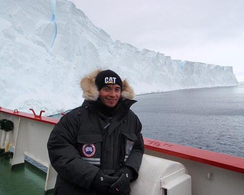 Spencer Smirl on the boat to Antarctica