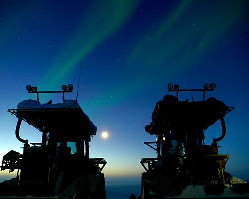 A view of the southern lights in Antarctica
