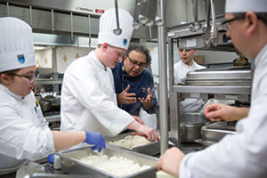 Vikram Vij shares his passion with students in the NAIT kitchens.