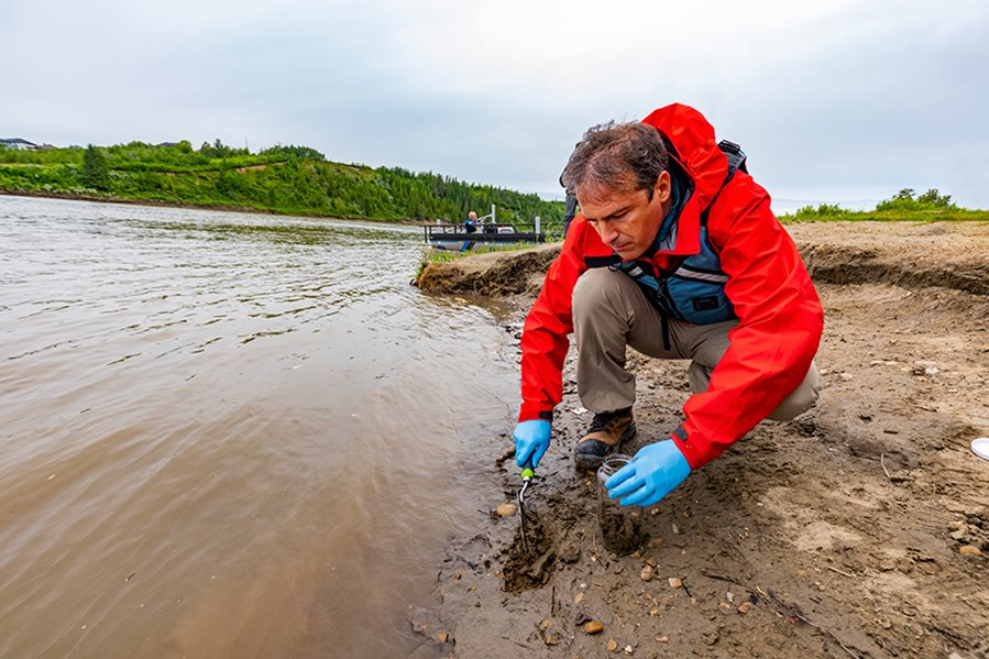 Dr. Paolo Mussone on the banks for the North Saskatchewan River